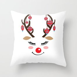 Reindeer sleigh Santa Claus Rudolph gift Throw Pillow