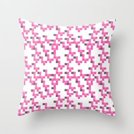 Pixel by pixel – Flamingo Throw Pillow