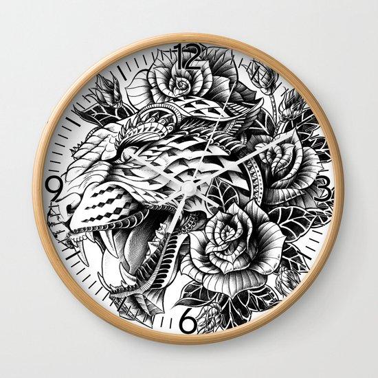 Ornate Leopard Black & White Variant Wall Clock