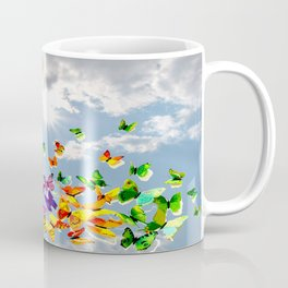Butterflies in blue sky Coffee Mug