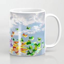 Butterflies in blue sky Coffee Mug