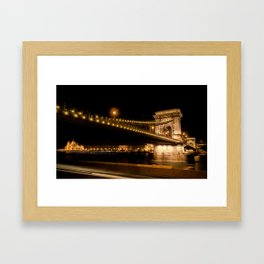 The Chain Bridge in Budapest over the Danube River Framed Art Print