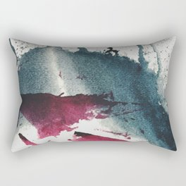 Disrupt: a minimal, abstract mixed media piece with bold strokes of magenta on blue Rectangular Pillow