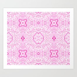 Maybelle Bright Pink tile Pattern Art Print