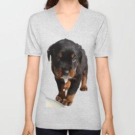Cute Rottweiler Puppy Lapping Milk Vector Unisex V-Neck