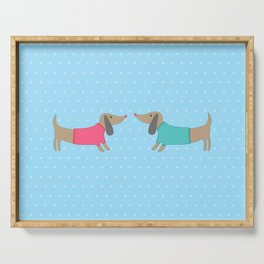 Cute dogs in love with dots in blue background Serving Tray