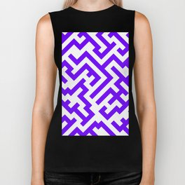 White and Indigo Violet Diagonal Labyrinth Biker Tank