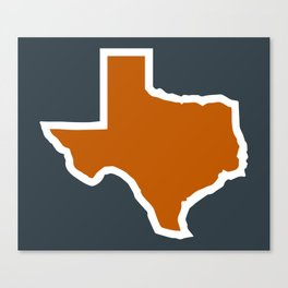 Texas Outline in Burnt Orange, Longhorns Canvas Print