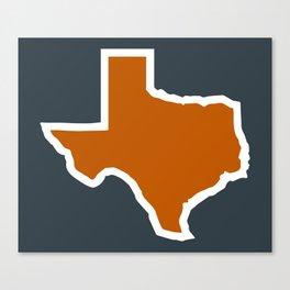 Texas Outline in Burnt Orange, Longhorns Canvas Print