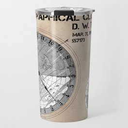 Geographical clock dial Thompson patent art Travel Mug
