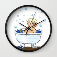 hobbit Wall Clocks featuring Bathing hobbit by Springfae