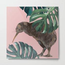 Kiwi Bird with Monstera in Pink Metal Print