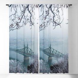 Breathtaking Hillside Szabadság Híd Liberty Bridge Danube River Budapest Hungary Winter Ultra HD Blackout Curtain