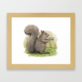 Sippin' Squirrel Framed Art Print