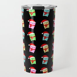 Cute funny Christmas baby bears with a red Santa hat winter pattern Travel Mug