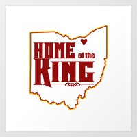 lebron Art Prints featuring Home of the King (White) by Denise Zavagno