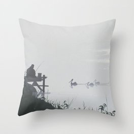 Misty Morning on the Clarence (1994) Throw Pillow