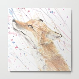 """Watercolor Painting of Picture """"Fox in the Rain"""" Metal Print"""