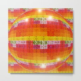 High Definition Retro Disco Ball Orange Pattern Metal Print