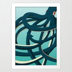 Octopus blue Art Print