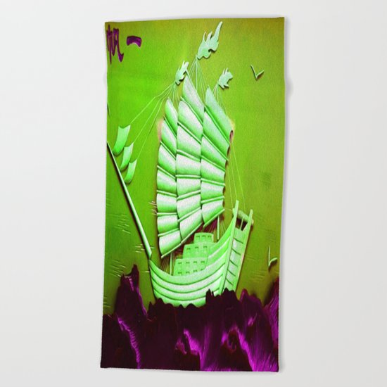 Asian Battle Ship Beach Towel