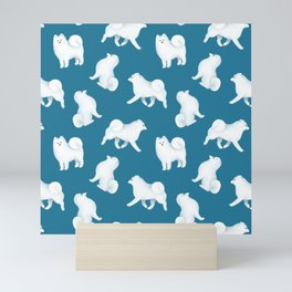 Samoyed Pattern (Blue Background) Mini Art Print