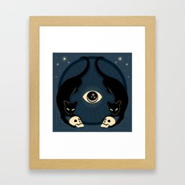 Midnight Cats Doing Their Dark Business Framed Art Print