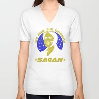 sagan V-neck T-shirts featuring Carl Sagan we are the cosmos by Buby87