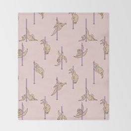 Sloths Pole Dancing Club Throw Blanket