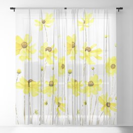 yellow cosmos flowers watercolor Sheer Curtain
