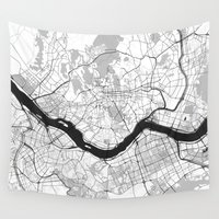 seoul Wall Tapestries featuring Seoul Map Gray by City Art Posters