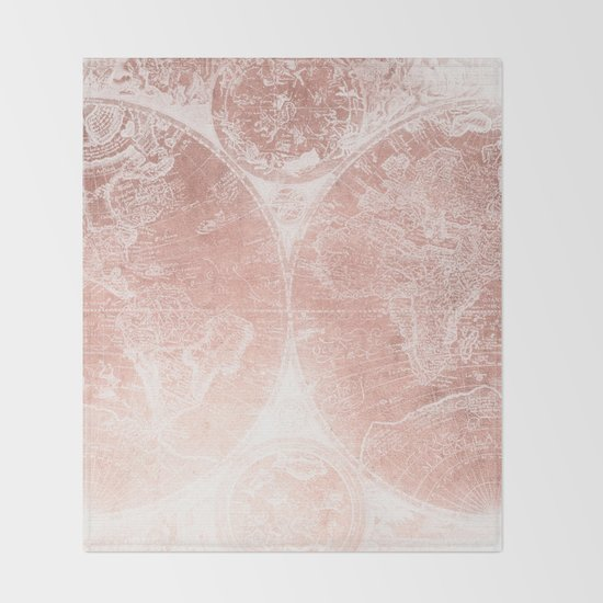 Antique World Map White Rose Gold Throw Blanket By Nature