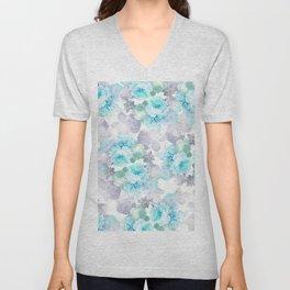 Modern teal gray chic romantic roses flowers Unisex V-Neck