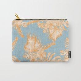 Hawaiian Hibiscus Palm Deep Orange Sky Blue Carry-All Pouch