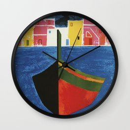 Procida Napels Italy retro vintage travel ad Wall Clock