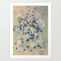 crystals Art Prints featuring crystals by Sil-la Lopez