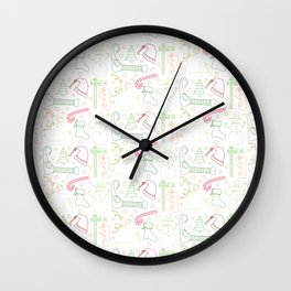 Christmas Doodles (Red, Green and Gold) Wall Clock