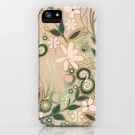 Detailed square of peach and green floral tangle iPhone Case