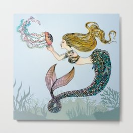 Jellyfish and Mermaid Metal Print