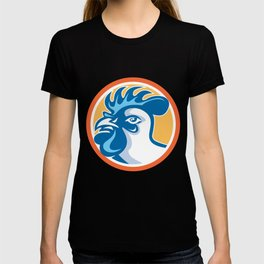 Chicken Rooster Head Side Circle Retro T-shirt