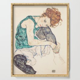 Sitting Woman With Legs Drawn Up Serving Tray