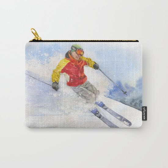 Skier, watercolor paintingon . Carry-All Pouch