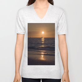 Summersunset with Boat - Warnemuende - Baltic Sea Unisex V-Neck