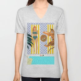 How To Vacay With Your Tiger, Human Animal Connection Illustration, Tropical Travel Morocco Painting Unisex V-Neck