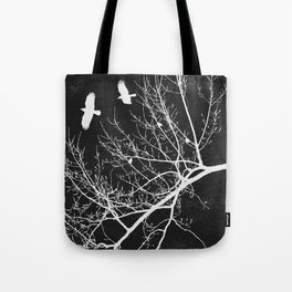 Crows Flying Over Trees Negative Silhouette Tote Bag
