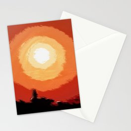 Stunning fiery sunset in the city, silhouettes of the buildings Stationery Cards