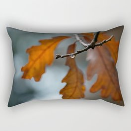 Rust Orange Oak Leaves in the Rain Rectangular Pillow