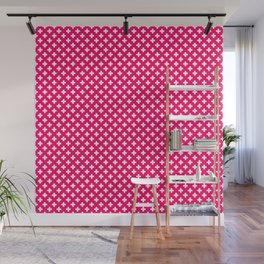 Small White Crosses on Hot Neon Pink Wall Mural
