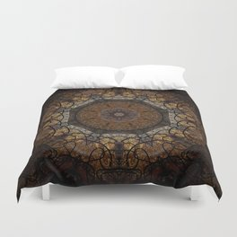 Rich Brown and Gold Textured Mandala Art Duvet Cover