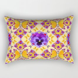 PURPLE PANSIES & GOLD  BUTTERFLIES KALEIDOSCOPE CREAM Rectangular Pillow